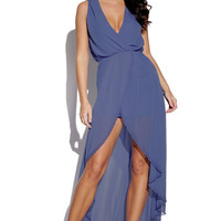 Navy Blue High Low Dress with Plunging Neckline