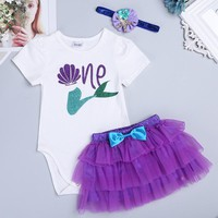 Baby Girl Romper My First Birthday 1st Summer Girls Clothing Sets Newborn Baby Clothes Cute Baby Jumpsuits Infant Girls Clothing