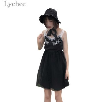 Lychee Harajuku Lace Mesh Patchwork Women Dress Sleeveless V-neck Summer Straps Dresses Gothic Punk Dress Female