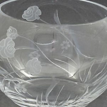 Hand cut glass bowl, Frosted rose and polished hand stems Can be customized