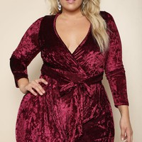 Style Queen Plus Size Crushed Velvet Romper Dresses+ GS-LOVE