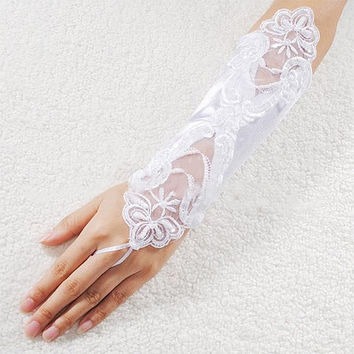 New Sexy Bride Wedding Party Dress Fingerless Pearl Lace Satin Bridal Gloves Costume SYH = 1929574212