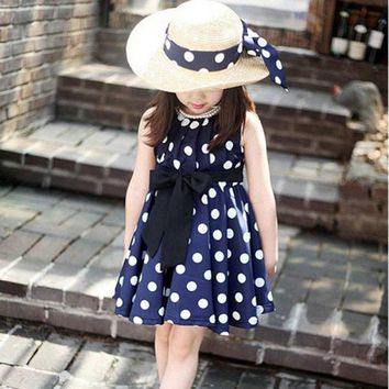 2017 Kids Girls Polka Dot Chiffion Sundress Toddler Tunic Bowknot Belt Dress