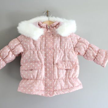 Japan Toddler Pink Polka Dot Quilt Jacket / Hooded Jacket / Pink Jacket /Winter Jkt/ Quilt Jakcet/ Size 2 - 3 Y