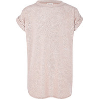 River Island Girls pink metallic slouch top