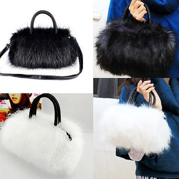 Hot Sale Elegant Lady Women Leather Handbag Faux Rabbit Fur shoulder bags Women Messenger Bags Crossbody Tote Evening Bags