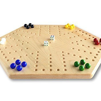 """Solid Maple Wood 20"""" Wooden Aggravation (Wahoo) Game Board Double-Sided '"""