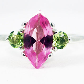 Pink Sapphire Marquis Peridot Accent Gemstone Sterling Silver Ring