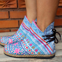 Womens Blue Ethnic Hmong Embroidery Short Womens Ankle Boots