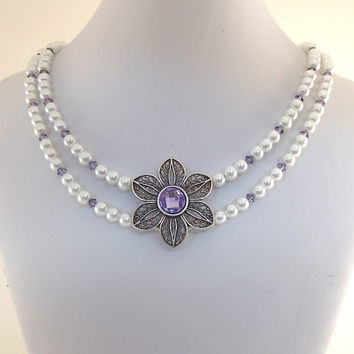 Wedding Necklace Double White Glass Pearl With Tanzanite Swarovski and Double Flower