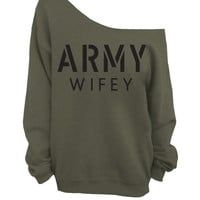 Army Wifey -  Oversized Off the Shoulder Sweatshirt - Army Green
