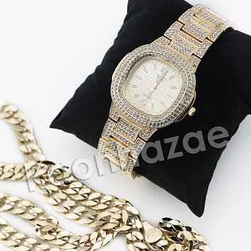 HIP HOP ICED OUT RAONHAZAE GOLD FINISHED LAB DIAMOND WATCH CUBAN CHAIN SET16