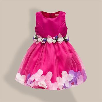 New Fashion Sequin Flower Dress Party Birthday Wedding Princess Toddler Baby Girls Clothes Children Kids Lycra Dresses