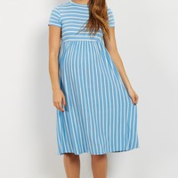 Blue-Striped-Short-Sleeve-Dress