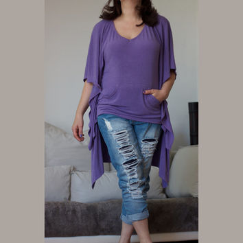 V Neck Lavender Hoodie / Butterfly Top Tunic / Knitted Cotton Spandex /  Wide and Loose Shirt / Hi Low Hem
