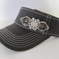 Adorable Grey White Stitched Golf Sun Visor with a Beautiful Clear and Smokey Grey Rhinestone Accent Golf Hat Sun visors Accessories