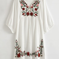 Floral Embroidery V-Neck Tunic Kimono Dress