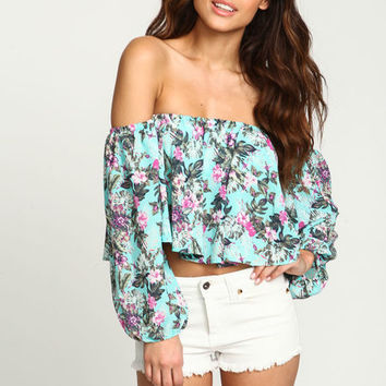 MINT TROPICAL OFF SHOULDER CROP TOP
