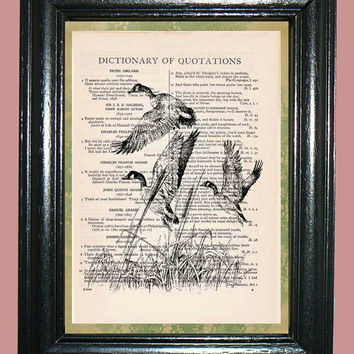 Flock of Geese Quotation Dictionary Book Page Art Beautiful Upcycled Page Art Home Decor Page Art Print