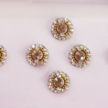 Bright Gold Bindis In One Pack stud with rhinestones/Indian India Bindis/Bindi Sticker/ Bindi Jewels/ Face Jewels/ Golden Round  Bindis