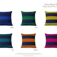 CUSTOM Rugby Striped Pillow Cover by JillianReneDecor - Modern Home Decor - Stripes - Nautical - Gift for Him