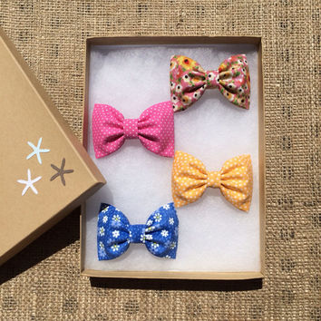 Modern pink floral, blue daisy, yellow and pink dot Seaside Sparrow hair bow lot.  Beautiful birthday gift for her this Spring/Summer.