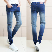 Ripped and Bleached Designer Slim Fit Denim Jeans