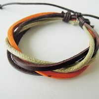 mens bracelets, tribal wrap leather bracelet