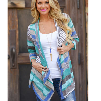 Striped stitching sleeved cardigan jacket