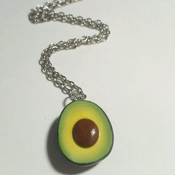 Avocado Necklace, Polymer Clay Food Jewelry, Polymer Clay Accessories