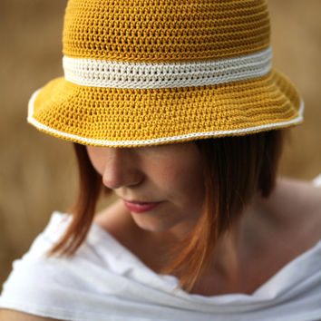 Mustard Yellow Hat, cotton summer hat crochet garden hat with brim