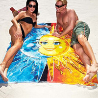 Sun and Moon Square Beach Throw