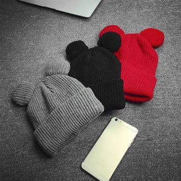 LMF9GW Winter Thick Knitted Wool Hat With Two Cat Ears Women's Beanie Warm Soft Cap New -Y107