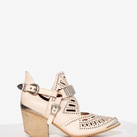 Jeffrey Campbell Calhoun Leather Ankle Boot - Beige