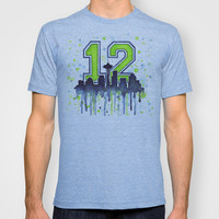 Seattle Seahawks 12th Man Fan Art T-shirt by Olechka