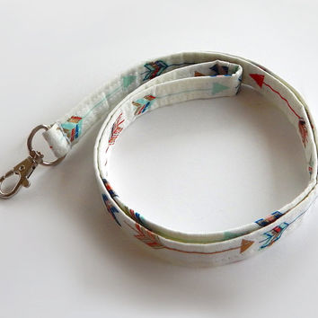 Arrow Lanyard / Teal & Coral / Boho Keychain / Bohemian / Arrows / Shimmering Gold / Key Lanyard / Tribal / ID Badge Holder / Fabric Lanyard