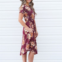 Burgundy Fall Floral Dress