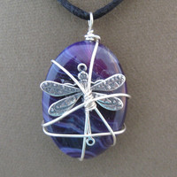 Purple Stone Silver Dragonfly Wrapped Pendant Necklace
