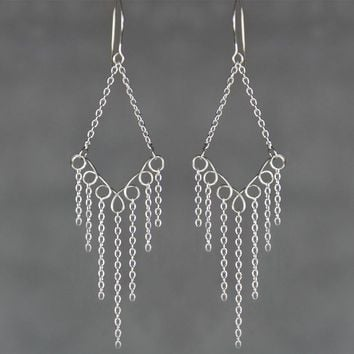 Sterling silver diamond chandelier hoop earrings handmade US free shipping Anni Designs