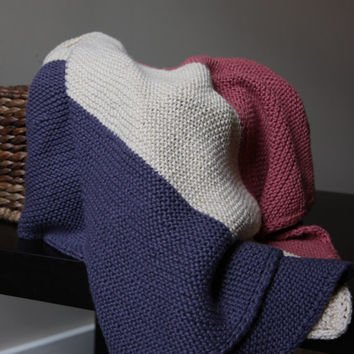 Color Block Bias Baby Blanket / Hand Knit Baby Blanket / Pink and Purple Baby Blanket / Ready to Ship!