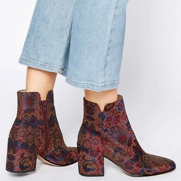 ALDO Sully Floral Block Heeled Ankle boots at asos.com
