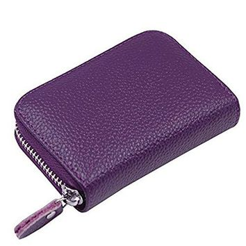 ARRIZO RFID Blocking Genuine Leather Credit Card Holder Wallet for Men and Women