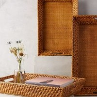 Kalamos Tray Set by Anthropologie in Natural Size: Set Of 3 Decor