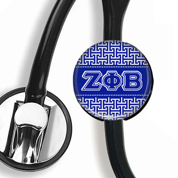 Stethoscope ID Tag - Zeta Tau Alpha Greek Letters