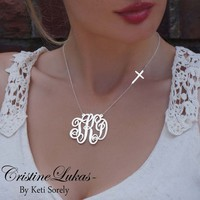 Monogram Initials Necklace w/ Celebrity Style Cross in Yellow Gold