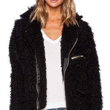 UNIF Poodle Faux Fur Moto in Black