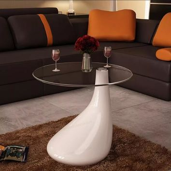VidaXL Coffee Table With Round Glass Top High Gloss White Cafe Table Home Furniture Modern Design Mushroom Table Creative