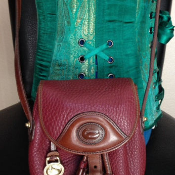 Vintage Authentic Burgundy Dooney and Bourke Cross Body Drawstring Purse