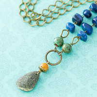 Western North Carolina Pisgah Forest River Rock Antique Brass Necklace with Blue and Orange Stone Beads and Green Ceramic Beads