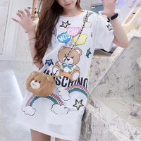 """Moschino"" Fashion Casual Cute Cartoon Bear Rainbow Letter Print Short Sleeve T-shirt Middle Long Section Mini Dress"